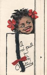 A GOOD PULL FOR A MERRY CHRISTMAS black girl with applique black hair pull & 2 pink bows  looks over door