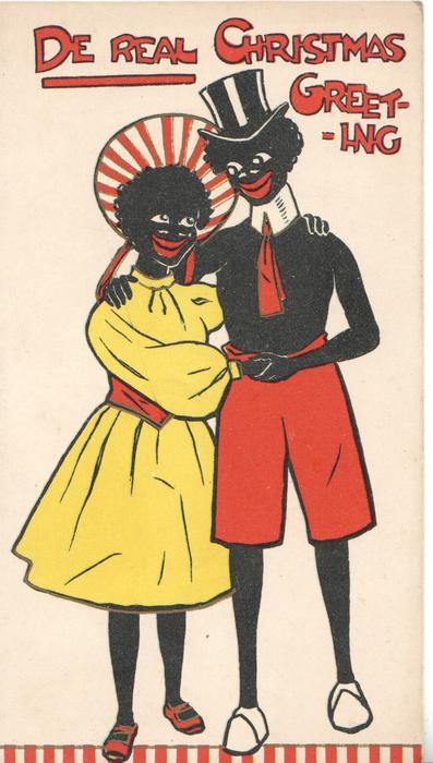 DE REAL CHRISTMAS GREETING black stereotypes, man & woman embracing, facing front