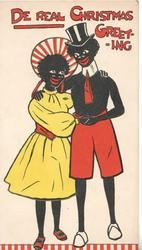 DE REAL CHRISTMAS GREETING black stereotypes, man & woman embracing, facing front