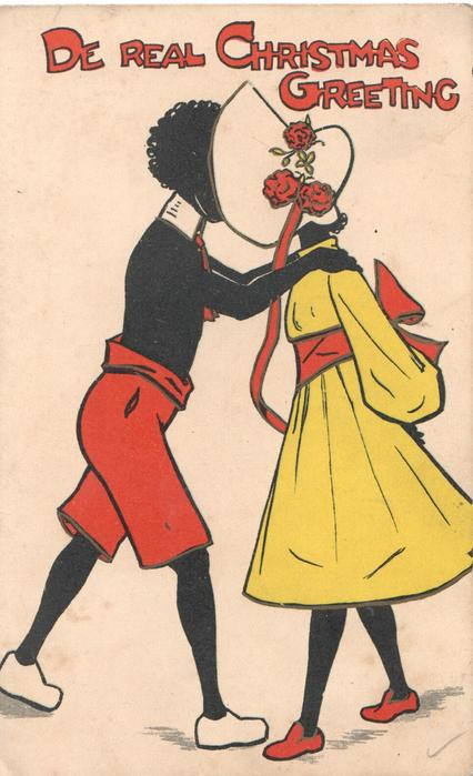 DE REAL CHRISTMAS GREETING black stereotypes, man & woman embracing, facing each other