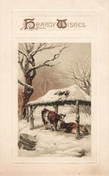 HEARTY WISHES in gilt above inset of 2 cows under snow covered shelter, rural scene