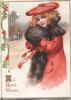 ALL GOOD WISHES girl in redcoat, brown fur stands facing left, looking front, berried holly left