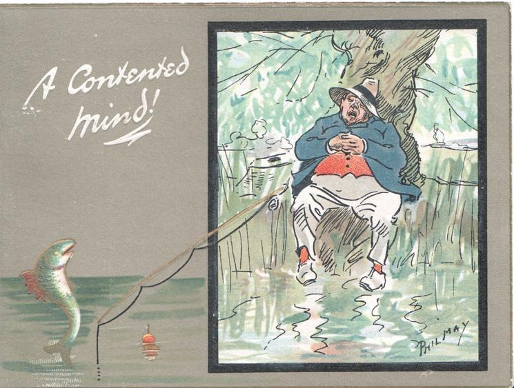 A CONTENTED MIND! in white left over laughing fish observing sleeping angler