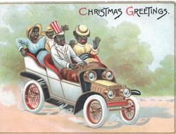 CHRISTMAS GREETINGS above 4 frightened black people in run-away car