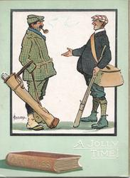A JOLLY TIME in white, FAIRY TALES on brown book cover,  golfer & angler stand exchanging tall stories