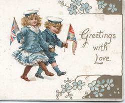 GREETINGS WITH LOVE in gilt, 2 girls march right carrying flags, gilt & forget-me-not designs  right