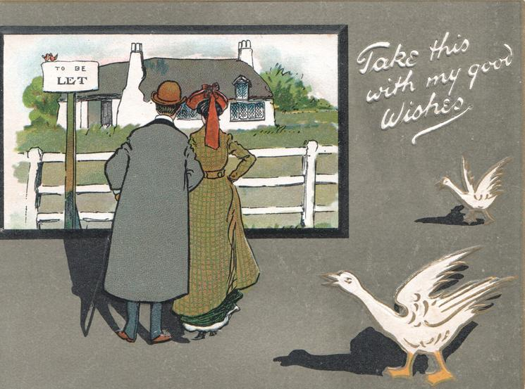 TAKE THIS WITH MY GOOD WISHES in white, couple inspect attractive cottage TO BE LET on sign, 2 geese protest