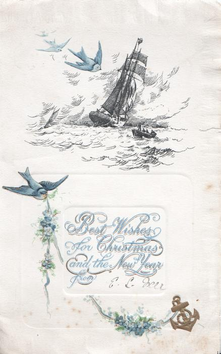 BEST WISHES FOR CHRISTMAS AND THE NEW YEAR in blue below seascape of ship & stormy sea, rowboat, bluebirds of happiness