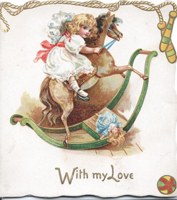 WITH MY LOVE in gilt below girl on rocking-horse, printed skipping rope above
