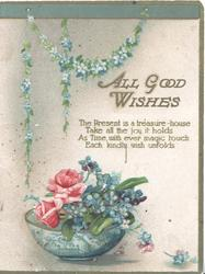 ALL GOOD WISHES, verse, roses in blue bowl with forget-me-nots, more forget-me nots & green background above