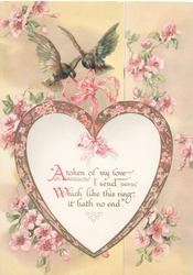 """""""A TOKEN OF MY LOVE ....""""2 bluebirds of happiness fly with heart shaped plaque, many pink wild roses around"""