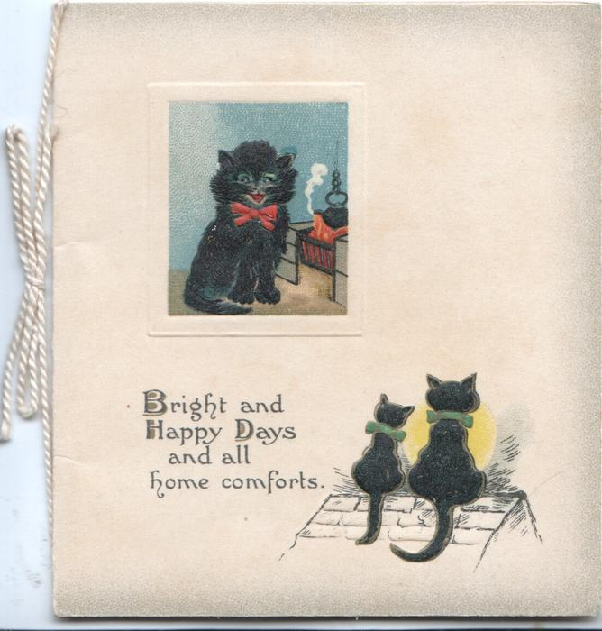 inset of black cat sitting by fire, 2 others sit below on roof, verse:-BRIGHT AND HAPPY DAYS AND ALL HOME COMFORTS.