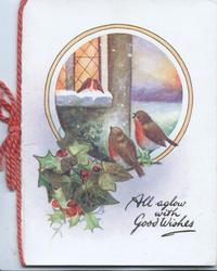 ALL AGLOW WITH GOOD WISHES below right, circular snowy inset, 4 English robins, ivy & holly below left