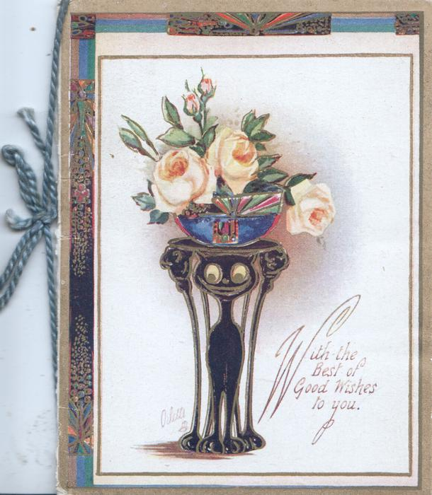 WITH THE BEST OF GOOD WISHES TO YOU.bowl of yellow roses on table over stylised black cat