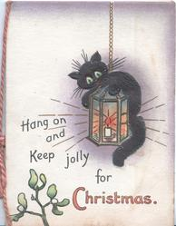 HANG ON AND KEEP  JOLLY FOR CHRISTMAS black cat hanging on to lit lantern,  mistletoe below