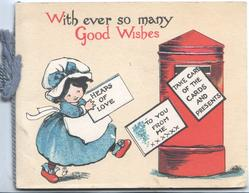 WITH EVER SO MANY GOOD WISHES girl strides right to mail bOx carrinnng letter HEAPS OF LOVE
