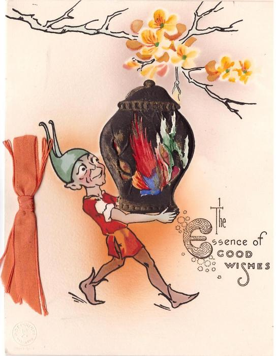 THE ESSENCE OF GOOD WISHES elf walks right holding large vase, yellow blossoms above