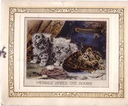 MERRILY SPEED THE HOURS 3 fluffy kittens look at white moth on fan, ink sketched rose border