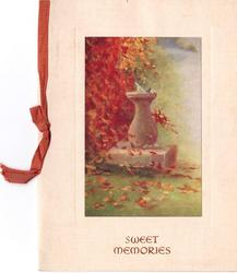 SWEET MEMORIES opt. in brown, tiny bird perched on sundial, tree with autumnal red leaves
