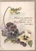 HOPE WILL BRIGHTEN DAYS TO COME AND MEMORY GILD THE PAST in gilt above purple & white/yellow pansies