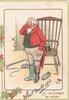 WHAT BOOTS IT? LET THE SEASON BE MERRY man in fox-hunting attire puzzled by loss of a boot that dog has taken, marginal holly