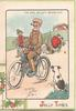 JOLLY TIMES, THE GIRL HE LEFT BEHIND HIM, man cycles on ignoring woman who has fallen from bike, boy & dog observe