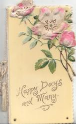 HAPPY DAYS  AND MANY below wild roses on yellow celluloid sheet rivetted to front sheet