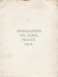 HEADQUARTERS VIII CORPS. FRANCE. 1918