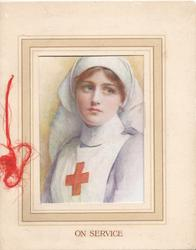 ON SERVICE Red Cross Nurse seen through large framed perforation