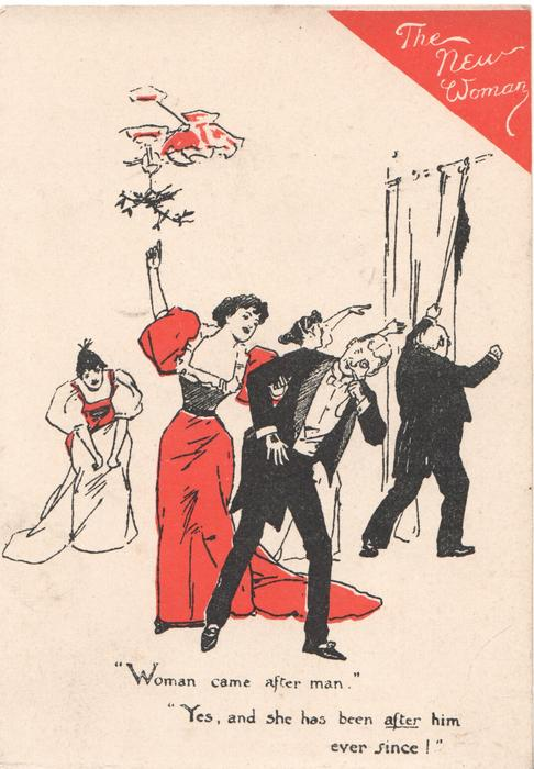 THE NEW WOMAN on red triangle top right above red & black sketch of men & women under mistletoe, verse...