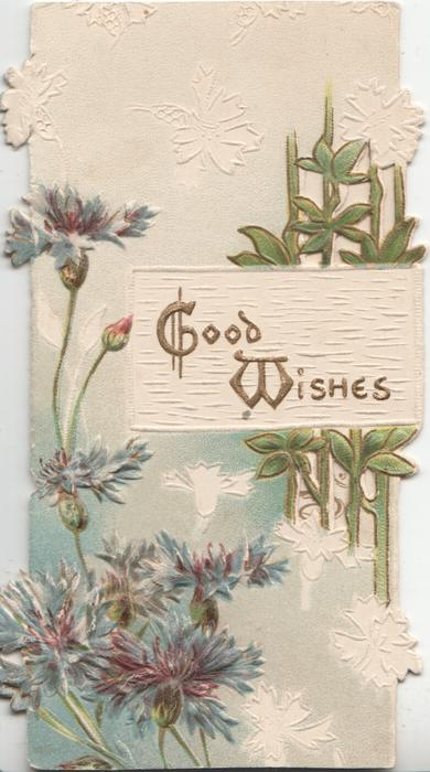 GOOD WISHES in gilt on plaque right, blue cornflowers left, perforated front