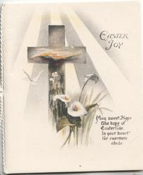 EASTER JOY top right, sun shines down on cross & lilies, verse below