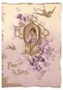 FAIR DAYS gilt inset with woman wearing purple dress, inset surrounded by gilt birds and purple flowers