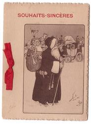 SOUHAITS SINCERES opt. in red, Santa with sac of toys faces right, people wave from stagecoach