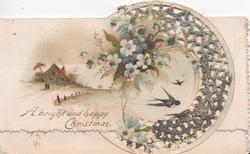 A BRIGHT AND HAPPY CHRISTMAS below winter rural scene, blue forget-me-nots in silvered glittered perforated circular inset right