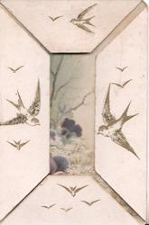 no front title,  birds fly on 4 flaps, purple violets & rural scene back