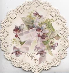 WISHES in gilt below purple ribbon & violets, right & left flaps fold into circular perforated white marginal design,