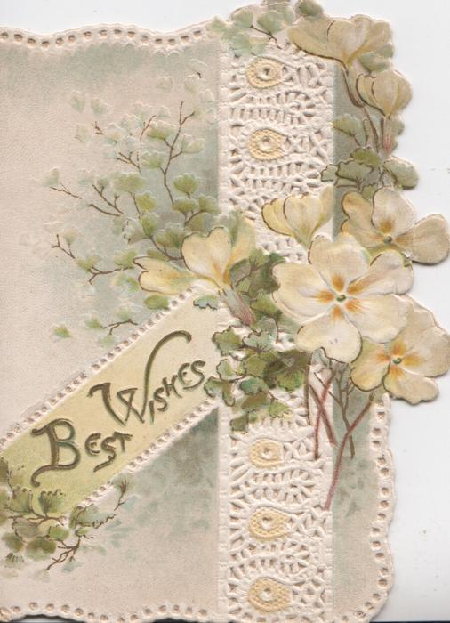 BEST WISHES in glt on diagonal plaque, yellow primroses over perforated vertical white band
