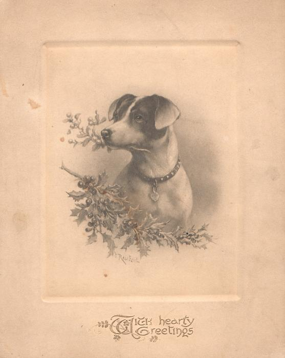 WITH HEART GREETINGS in gilt below inset of terrier with sprig of holly in mouth, more holly front