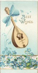 BEST  WISHES in gilt upper right, blue forget-me-nots below musical instrument with blue bow tied to handle