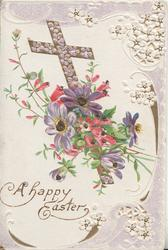 A HAPPY EASTER, pink & violet flowers in front of gilt cross, stylised white perforated marginal design