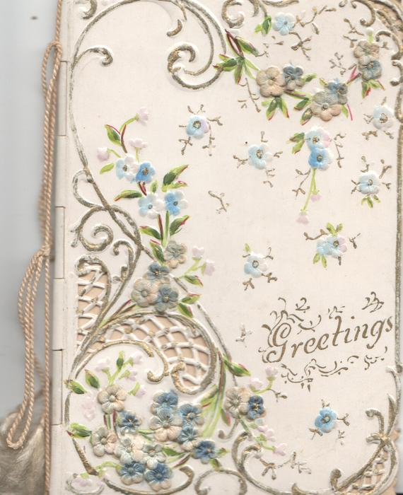 GREETINGS in gilt lower right, complex gilt & forget-me-not design below right