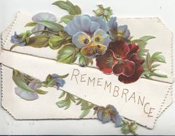 REMEMBRANCE in gilt at top of lower flaps, multicolour pansies on top flap