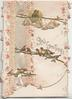 GLAD GREETINGS in gilt below 7 bells & 2 birds of happines, above many more birds perched, floral vertical designs with band of silk on top flap