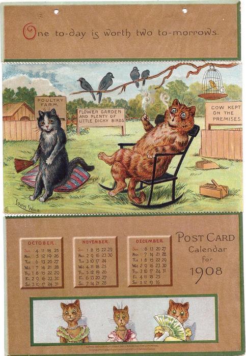 LEAP YEAR IN CATLAND POSCTCARD CALENDAR FOR 1908