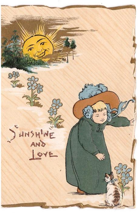 SUNSHINE AND LOVE girl in green bends to gret cat, anthropomorphic sun behind