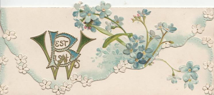 BEST WISHES(B & W illuminated) on top flap with blue forget-me-nots, more flowers on lower flap