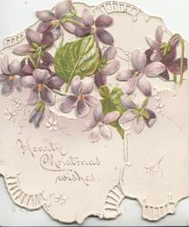 HEARTY CHRISTMAS WISHES on left flap below violets & perforations