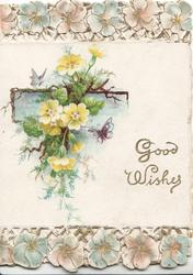 GOOD WISHES in gilt lower right, yellow primroses over small blue inset & at top & bottom of card