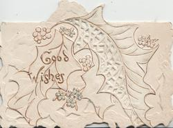 GOOD WISHES in gilt left over complex perforated design with very faintly blue forget-me-nots